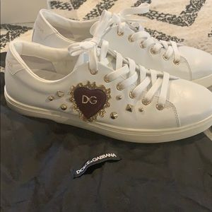 Dolce and Gabbana Heart and Gold Studded Sneaker
